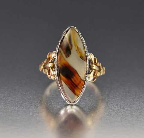 Stunning 10K Gold Bow and Silver Dendritic Agate Ring