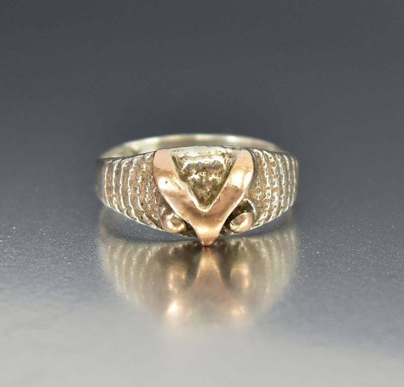 Vintage Silver 18K Rose Gold Owl Ring Band - Boylerpf