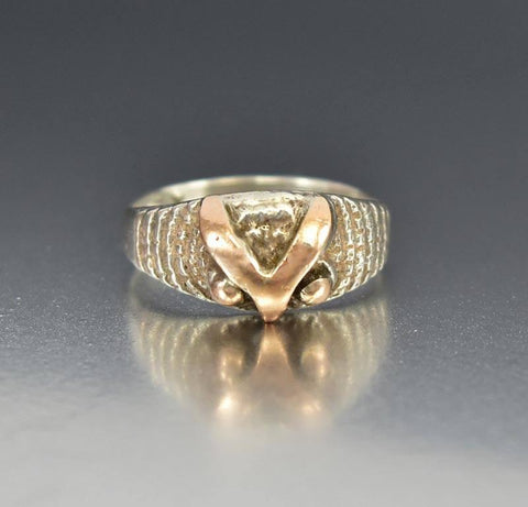 Vintage Silver 18K Rose Gold Owl Ring Band