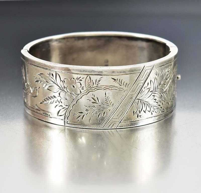 Antique English Victorian Silver Cuff Bracelet Bangle - Boylerpf - 1