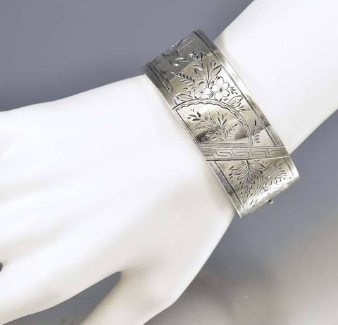 Antique English Victorian Silver Cuff Bracelet Bangle