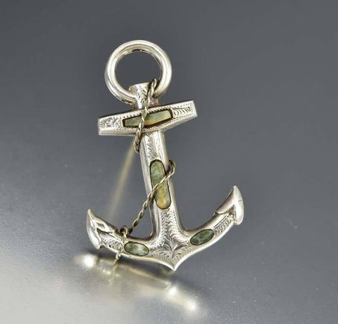 Victorian Sterling Silver Agate Anchor Brooch