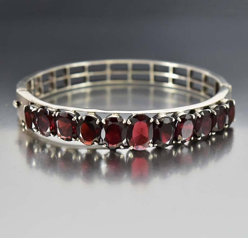 Art Deco Sterling Silver Garnet Bangle Bracelet - Boylerpf - 1