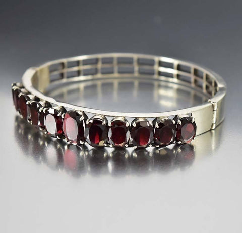 Art Deco Sterling Silver Garnet Bangle Bracelet