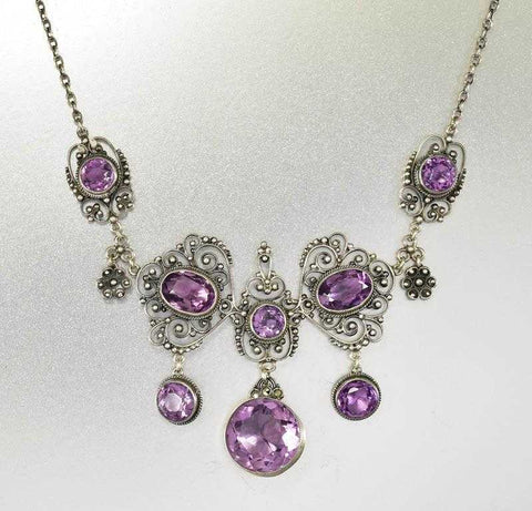 Edwardian Antique Silver Filigree Amethyst Necklace Italian