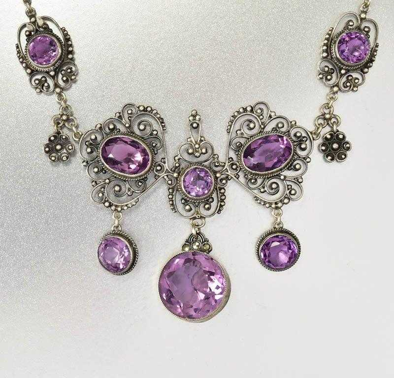 Edwardian Antique Silver Filigree Amethyst Necklace Italian - Boylerpf