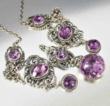 Edwardian Antique Silver Filigree Amethyst Necklace Italian - Boylerpf - 5
