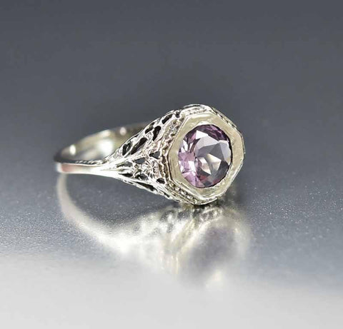 Sterling Filigree Amethyst Engagement Ring Edwardian Style