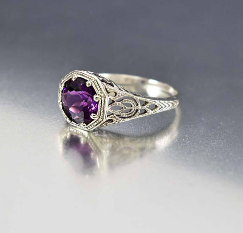 Amethyst Silver Filigree Engagement Ring Art Deco Style