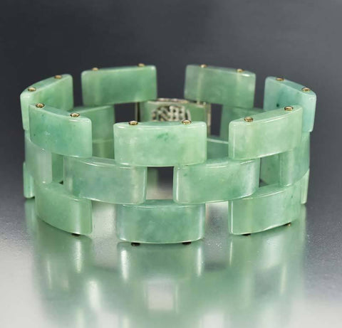Turquoise Czech Glass Art Deco Bracelet