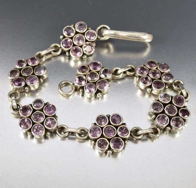Arts & Crafts Sterling Silver Flower Amethyst Bracelet - Boylerpf - 1
