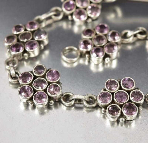 Arts & Crafts Sterling Silver Flower Amethyst Bracelet
