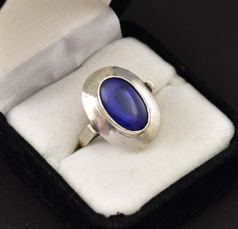 Bold Arts and Crafts Blue Quartz Silver Ring - Boylerpf