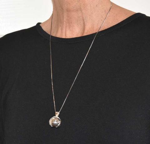 Globe Pendant Silver Ball Locket Necklace