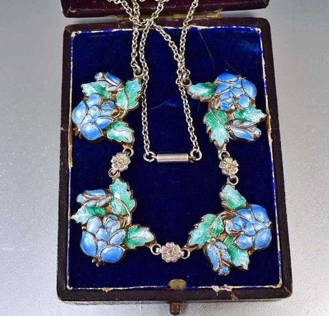 Vintage Silver Enamel Flower Edwardian Necklace