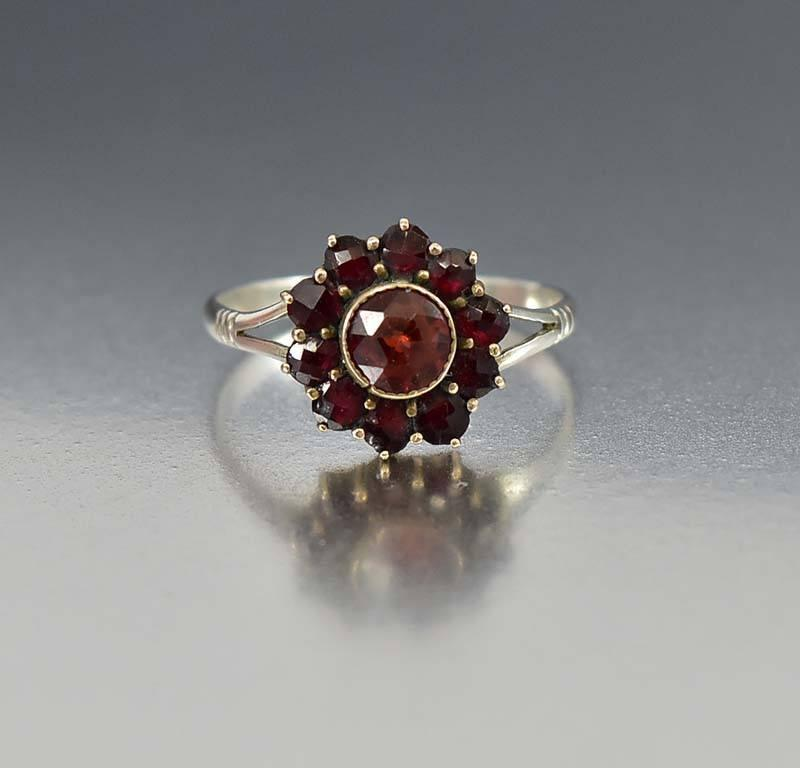 Antique Sterling Silver Bohemian Garnet Halo Ring - Boylerpf
