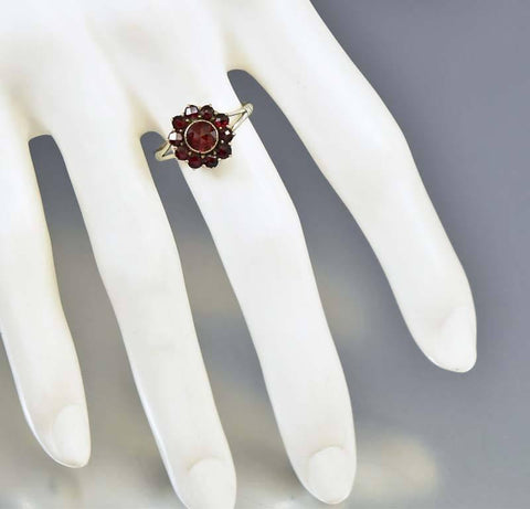 Antique Sterling Silver Bohemian Garnet Halo Ring
