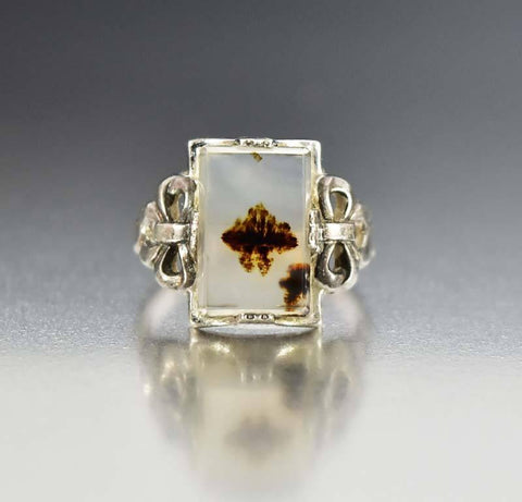 Vintage Art Deco Silver Bow Dendritic Picture Agate Ring