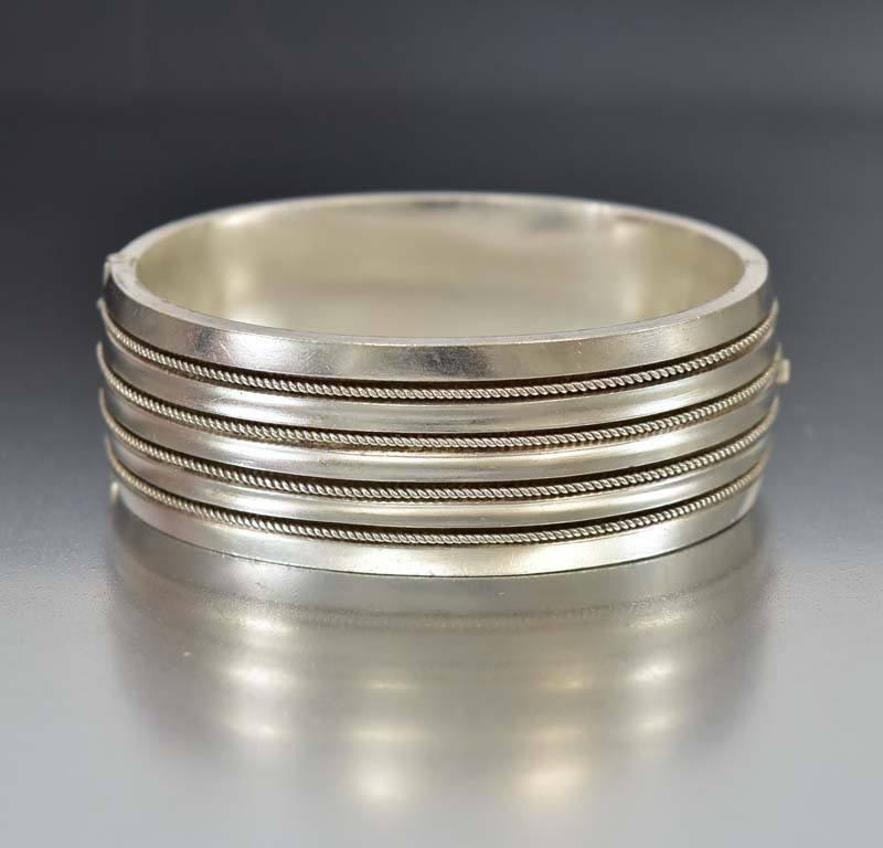 Antique Rope Twist Hinged Silver Bangle Bracelet - Boylerpf