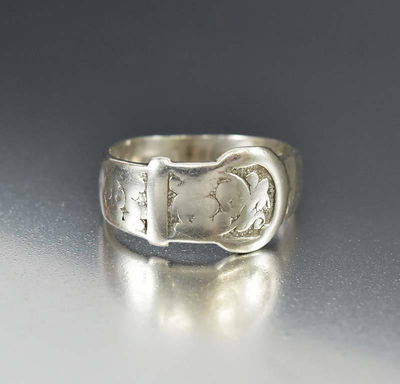 English Antique Victorian Sterling Silver Buckle Ring - Boylerpf