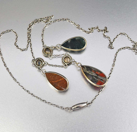 Vintage 1900 Egyptian Revival Floral Edwardian Scarab Necklace