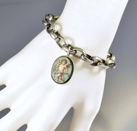 Cupid Charm Antique Silver Belcher Chain Bracelet