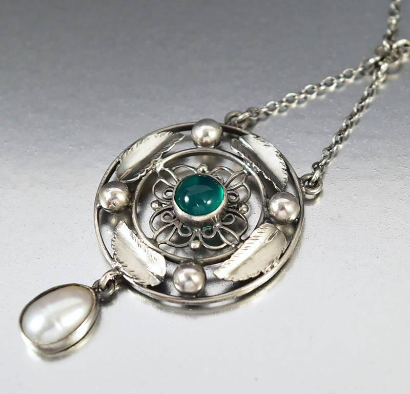 Antique Arts & Crafts Silver Pearl Chrysoprase Necklace - Boylerpf