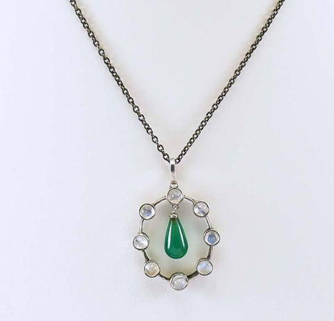 Antique Arts & Crafts Chrysoprase Moonstone Necklace Pendant