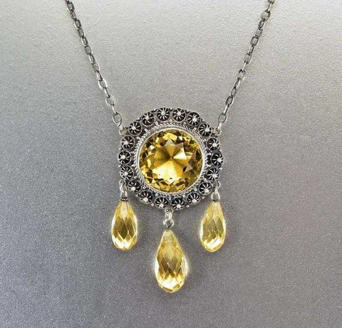 Antique Victorian Citrine Necklace Silver Cannetille