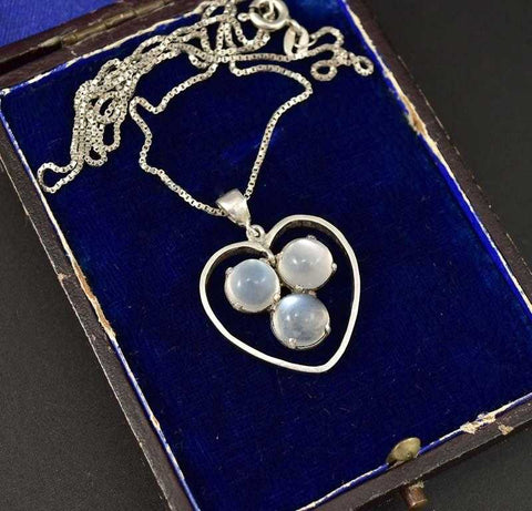 Superb Moonstone Three Leaf Clover Heart Necklace