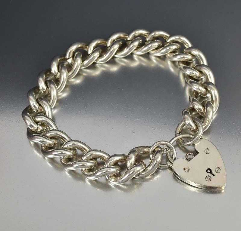 English Silver Curb Chain Heart Padlock Bracelet ON HOLD - Boylerpf