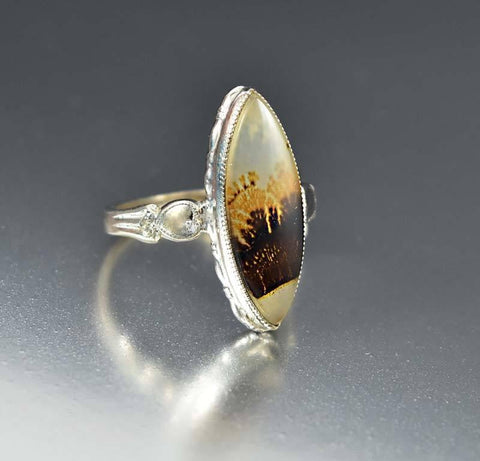 Vintage Art Deco Silver Dendritic Agate Ring Clark & Coombs