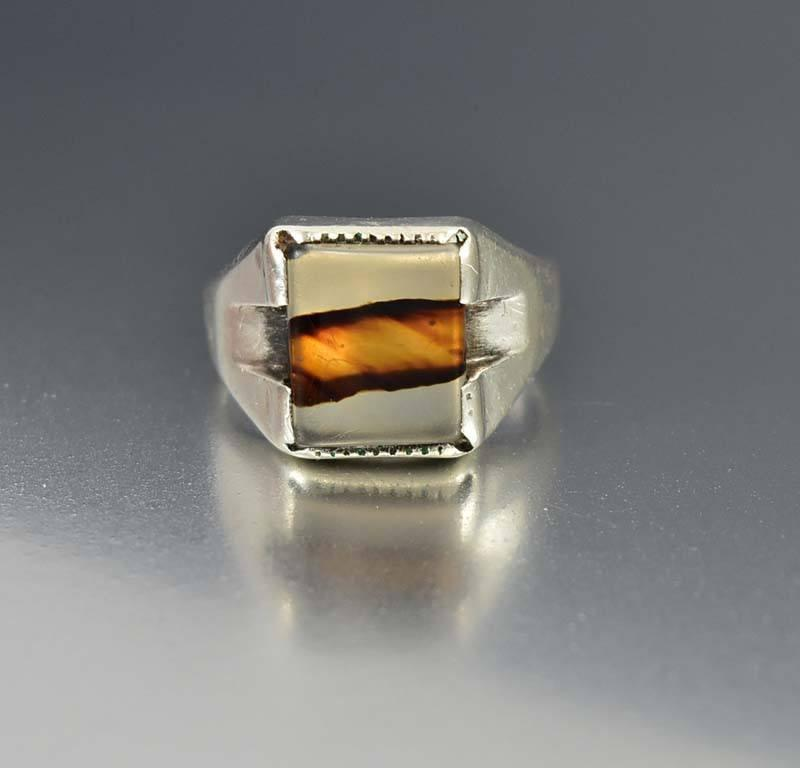 Sterling Silver Art Deco Signet Dendritic Agate Ring - Boylerpf