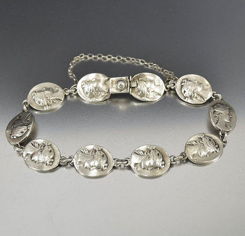 Edwardian Sterling Silver Gibson Girl Antique Cameo Bracelet