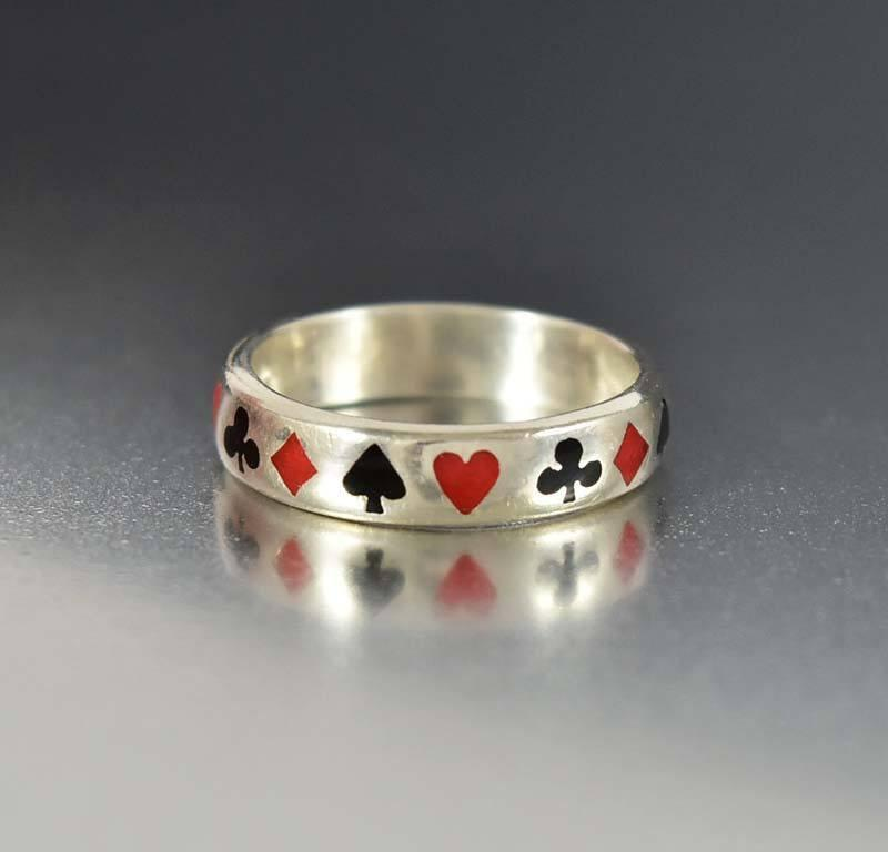 Antique Silver Band Enamel Poker Ring - Boylerpf