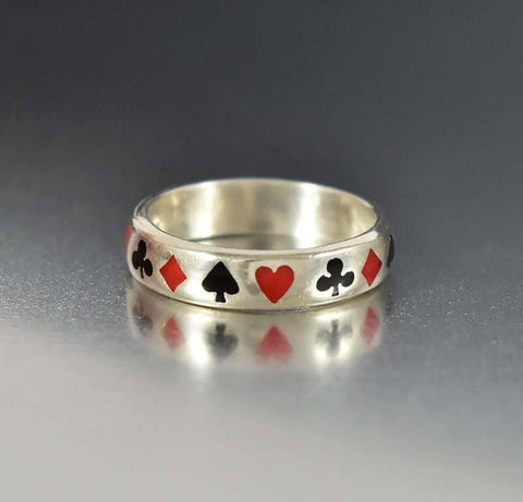 Antique Silver Band Enamel Poker Ring