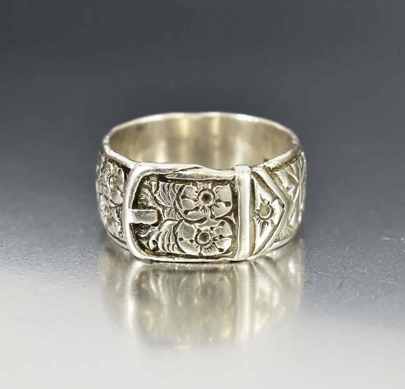 Mens Engraved Antique Silver Buckle Ring Wedding Band Boylerpf