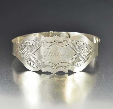Sterling Silver Engraved Victorian Bangle Bracelet