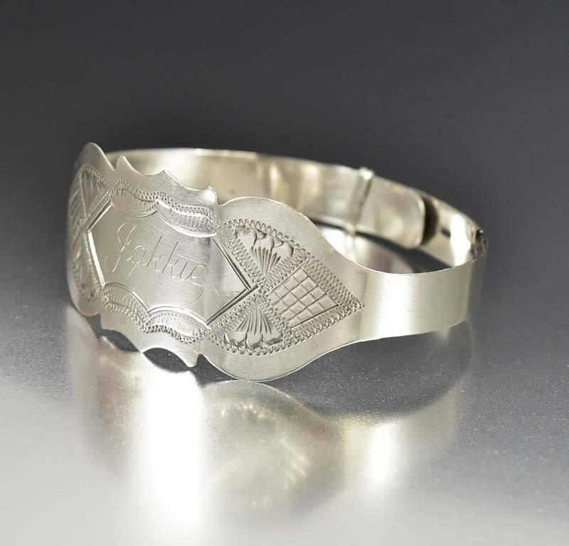 Sterling Silver Engraved Victorian Bangle Bracelet - Boylerpf