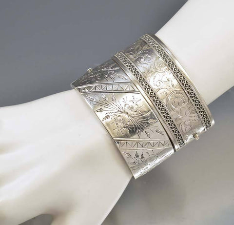 Aesthetic Antique Victorian Silver Bangle Bracelet Cuff