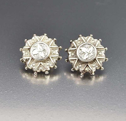 Antique Silver Engraved Button Drop Earrings C. 1880s