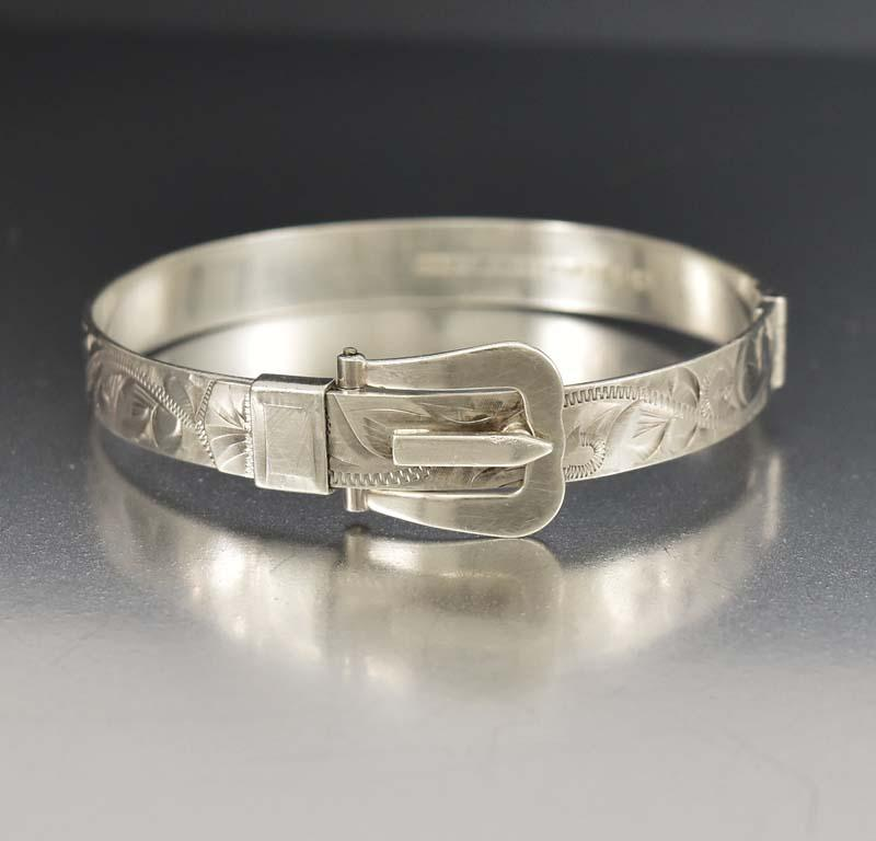English Engraved Silver Buckle Bangle Bracelet - Boylerpf