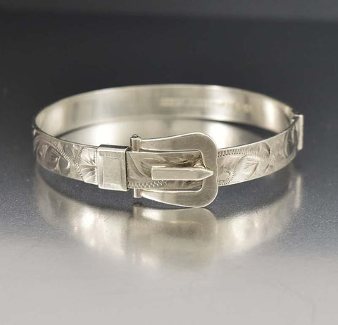 English Engraved Silver Buckle Bangle Bracelet