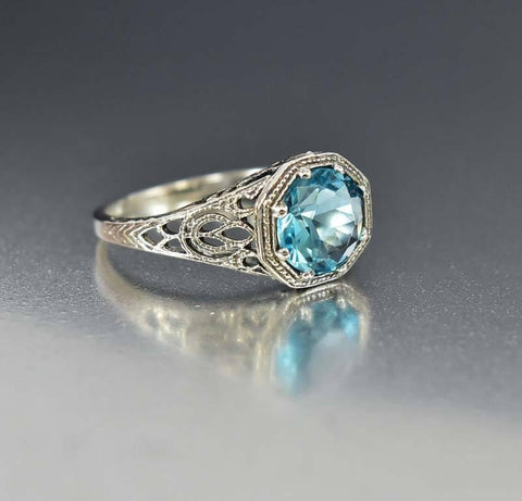 Vintage 10K Gold Art Deco Diamond Opal Ring