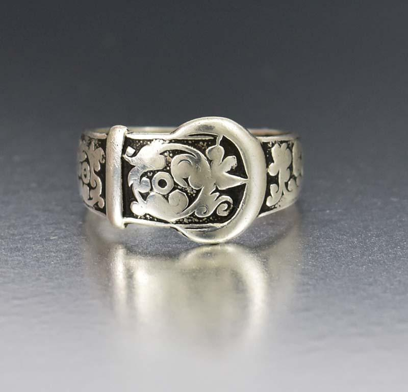Victorian Silver Buckle Antique Floral Wedding Band - Boylerpf