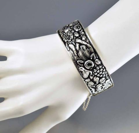 Antique Portugal Four Seasons Silver Bangle Bracelet