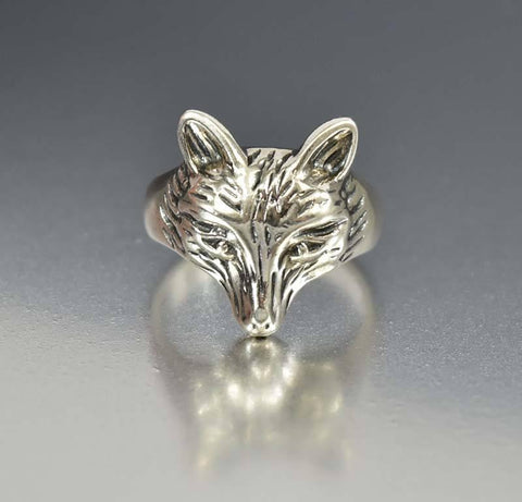 Vintage Sterling Silver Animal Fox Ring