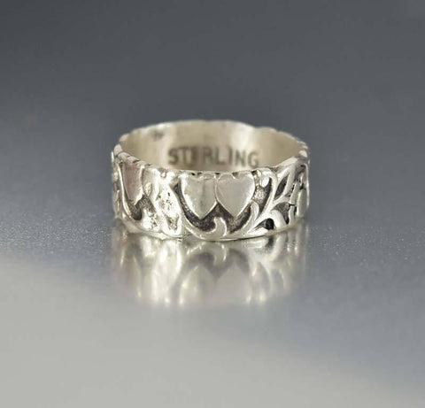 Antique Nouveau Double Heart Sterling Band Ring