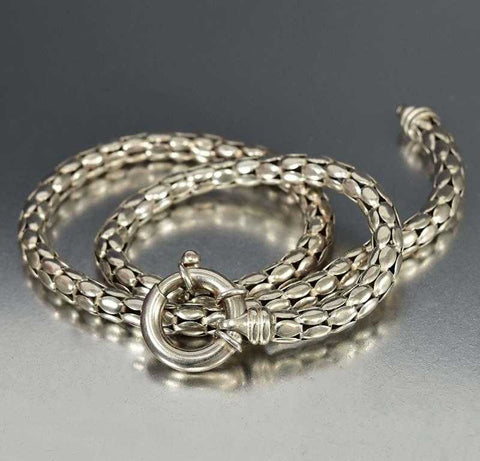 Vintage Italian Silver Snake Chain Necklace