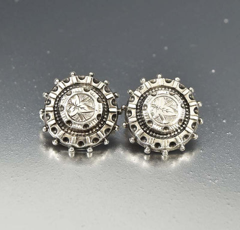 Antique 1880s Silver Engraved Button Drop Earrings